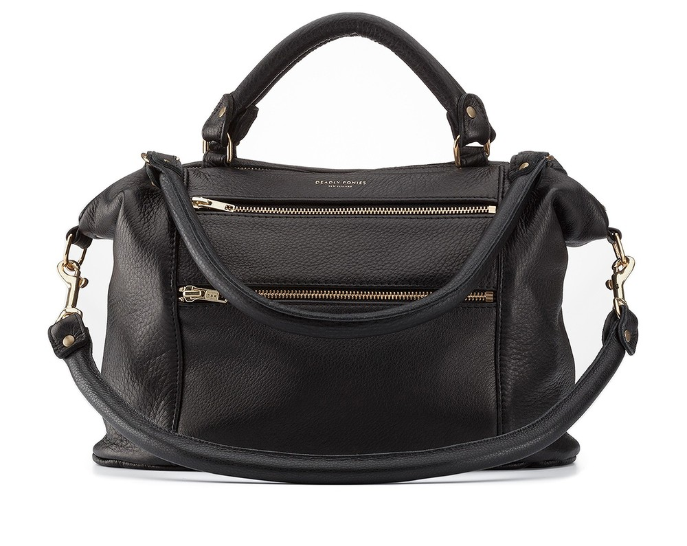 Mr Fill N Zip Twist Black Handbag