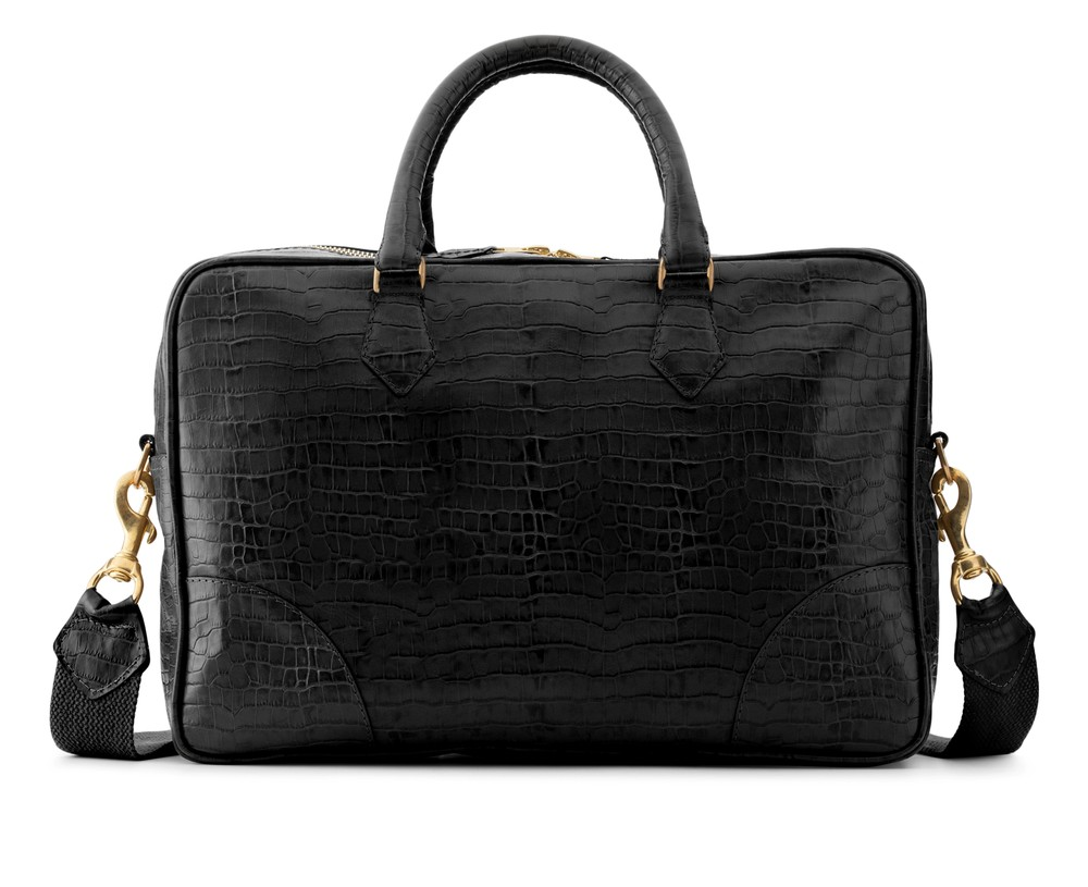 Zorro Briefcase Croc Black