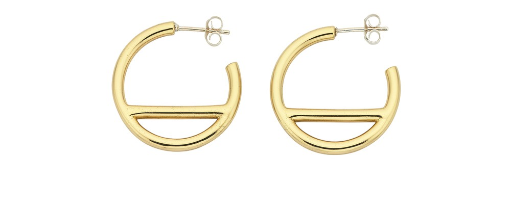 Mini T-Bar Hoop Earring Brass