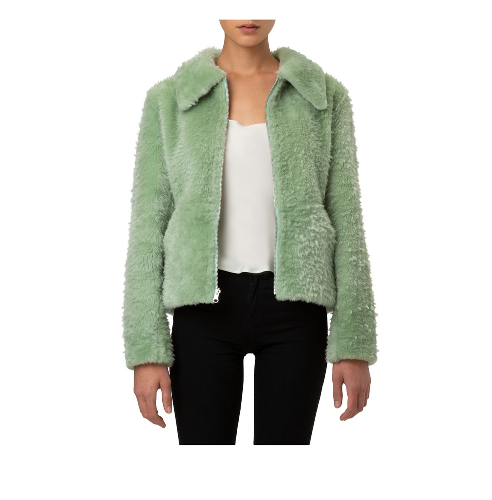 Sage Shearling open Front Model