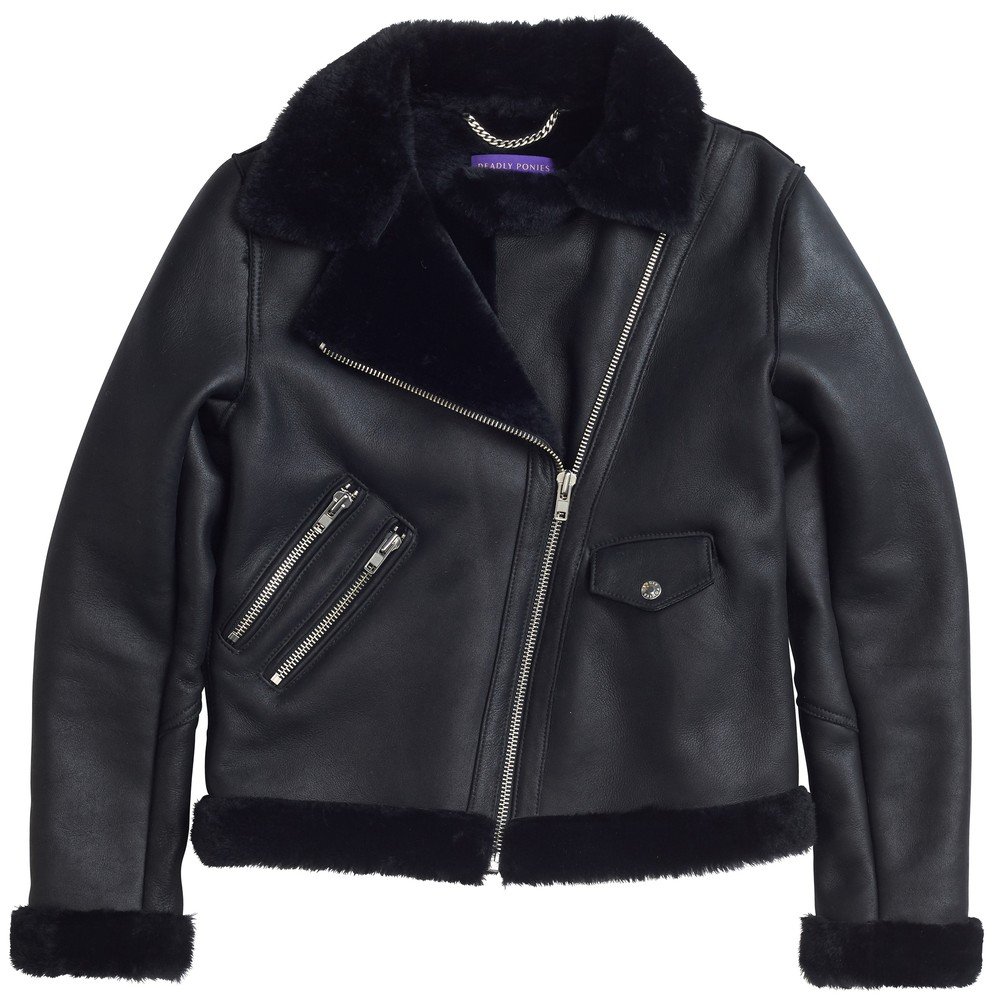 Pony Rider Leather Jacket with Black Fur Collar